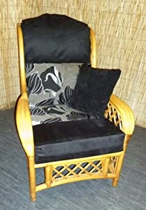 Luxury Cushion Covers for Cane Wicker and Rattan Conservatory and Garden Furniture - Black Suede & Lily Design - RRP £69.99 by Zippy UK