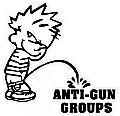 1 Pcs Acceptable Modern Boy Peeing Piss Anti-Gun Groups Stickers Signs Surveillance 24Hr Protected Military Size 5