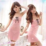 8312【ピンク】胸元編み上げベビードール&ショーツ 小悪魔系セクシーランジェリー