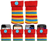 ITALKonline UNIVERSAL RED STRIPES Sock Case Cover Pouch With Detachable Strap Doro PhoneEasy 506