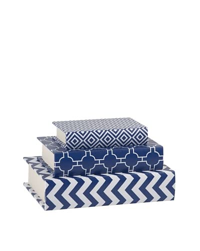 Essentials Set of 3 Canvas Book Boxes, Navy