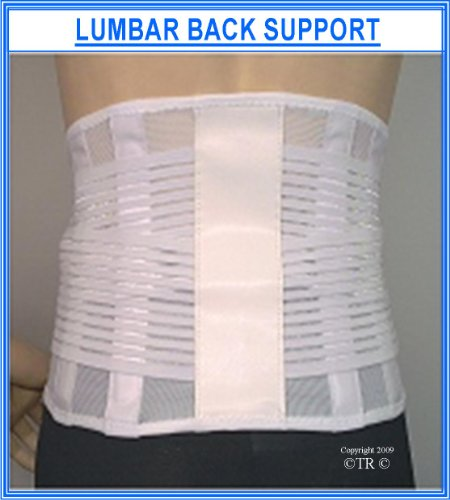 LUMBAR LOWER BACK SUPPORT BRACE , Fully functional back support brace which features adjustable side pulls and four rear low profile comfort stays for increased support. 23cm (9 ins) wide, open weave breathable woven elastic back and side panels that prov