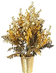 Om Home decor artificial flowers with Pot,Yellow