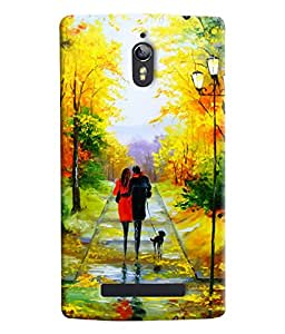 Blue Throat Two Lover Walking With Love Painting Printed Designer Back Cover For Oppo Find 7