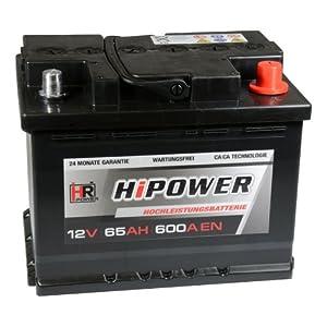 HR HiPower Autobatterie 12V 65Ah 600A/EN Starterbatterie ersetzt 60Ah 55Ah 60Ah 62Ah 63Ah by HR