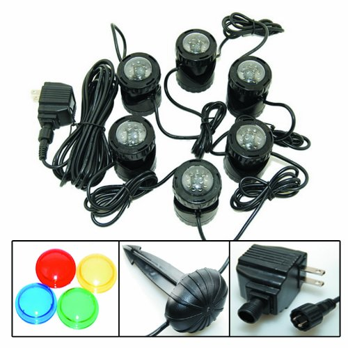 12-LED Submersible Light for Water Gardens and Ponds, Set of 6