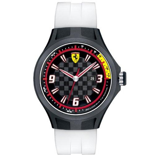 Ferrari 830004 - Reloj analógico de cuarzo para hombre, correa de silicona color blanco