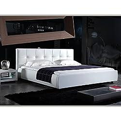 (160cm x 200cm) London Weiss Doppelbett Polsterbett Bettgestell Bett Lattenrost Kunstlederbett