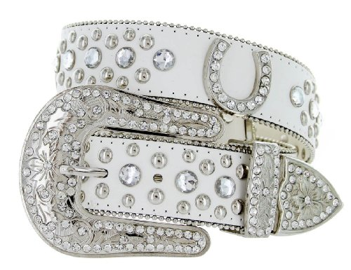 Western Cowgirl Horseshoe Charm Bling Belt with Rhinestone Studded Buckle and Strap (36, White)