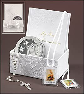 Catholic Girls My First Holy Communion Set: 17 Inch Rosary Necklace and Scapular with Budded Cross Keepsake Tin in Embroidered White Gift Box