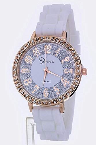 Trendy Fashion Jewelry Glittered Dial Jelly Fashion Watch By Fashion Destination | (White)