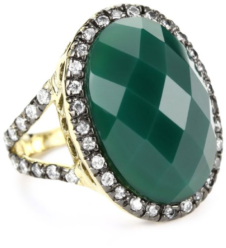 ANDARA Oval Green Agate Solitaire Two Tone Ring, Size 6