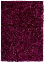Lalee 347239641 foncé fait main Motif Torino Tapis Shaggy Violet 80 x 150 cm