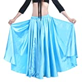 Dance Fairy 2014 bright sexy Lake blue satin swing long dress for belly dance dance team