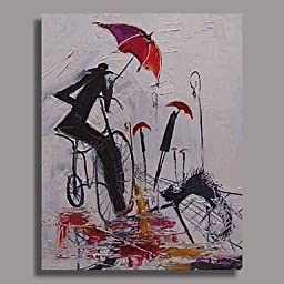 Dudu Hand Painted Abstract Oil Painting with Stretched Frame Ready to Hang