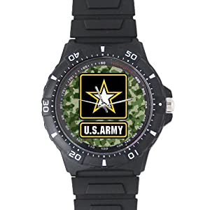 Men's and Boy's Watch Cool US Army on Camouflage Background Black Plastic High Quality Watch 100% Plastic Quartz Watch