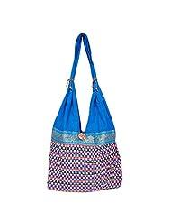 Womaniya Canvas Blue Handbag For Women(Size-32 Cm X 32 Cm X 10 Cm) - B00SJ1KE94