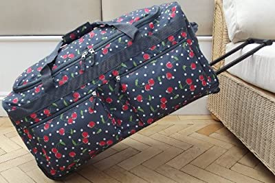Charcoal grey Travel Holdall trolley Luggage Bag On Wheels cherry desgin large size