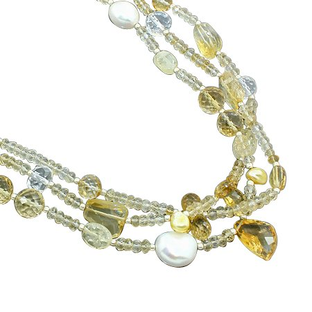 925 Sterling Silver Natural Citrine White Topaz Fresh Water Pearl Gemstone Beads 3 Strand Necklace with Lobster Closer Handmade Jewelry 18