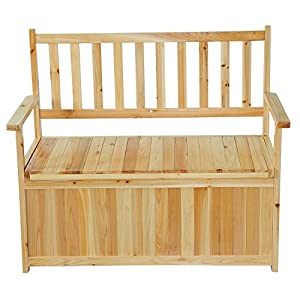 Homcom 2 Seater FSC Certificated Wooden Wood Storage Bench Garden Outdoor Che
