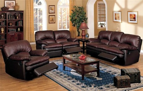 Buy Low Price Poundex 3pcs Dark Brown Top Grain Leather Match Recliner Loveseat Sofa Set (VF_LIVSET-F7761)