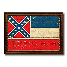 Mississippi State Vintage Flag Art Collection Western Shabby Cottage Chic Interior Design Office Wall Home Decor Gift Ideas, 27''x39''