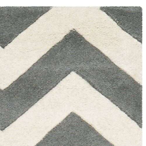 Safavieh Chatham Collection CHT715D Handmade Dark Grey and Ivory Wool Area Rug, 2 feet 3 inches by 5 feet (2'3