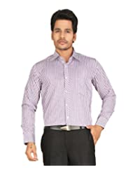 John Morris Smart Purple Checks Regular Fit Formal Full Sleeves Shirt For Men | JM113655Q1