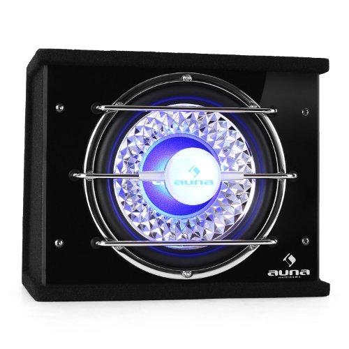 Auna-25cm-Auto-Subwoofer-Auto-Basskiste-600-Watt-max-300W-RMS-blauer-LED-Lichteffekt-Gitter-in-Chrom-Optik-Filz-schwarz