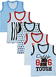 MYFAA Baby Boys' Cotton Regular Fit Vest - Combo of 5 (Multi-Coloured, 3-6 Months)