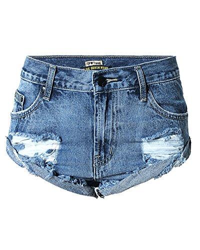 SaiDeng Donna Vintage Vita Alta Jeans Strappato Shorts Denim Pantaloncini Corti Blu Marino 44