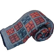 Little India mano de manta de cama estampado roja doble