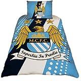 Manchester City FC Stripe Crest Single Duvet Cover & Pillowcase Set