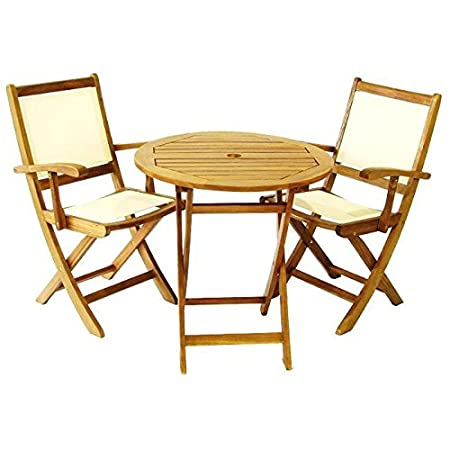 Two Folding Armchairs & Table crafted from solid acacia hardwood - Easy To Stored When Not In Use - Wonderful Addition To Your Garden By e-Commerce Excellence