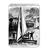 Ice boating on the Hudson river, 1872.. - Mouse Mat Art247 Highest Quality Natural Rubber Mouse Mats - Mouse Mat