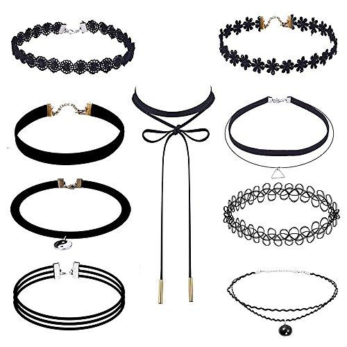 flowerfall 9pezzi in velluto elasticizzato collane, adesivo e nero perline Chokers collane, colore: nero