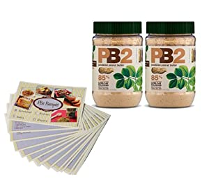 Powdered Peanut Butter - 85% Less Fat and Calories - 2 Pack - 6.5oz Each - Free Bonus PB2 Recipe Cards Included (17 Cards in Total) from PB2