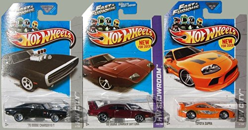 2013 Hot Wheels Fast & Furious Set Of 3 - '70 Dodge Charger R/T, Toyota Supra, '69 Dodge Charger Daytona