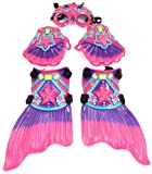 Princess Mermaid Deluxe Swim Set with Goggles, Gloves, & Fins, Pink