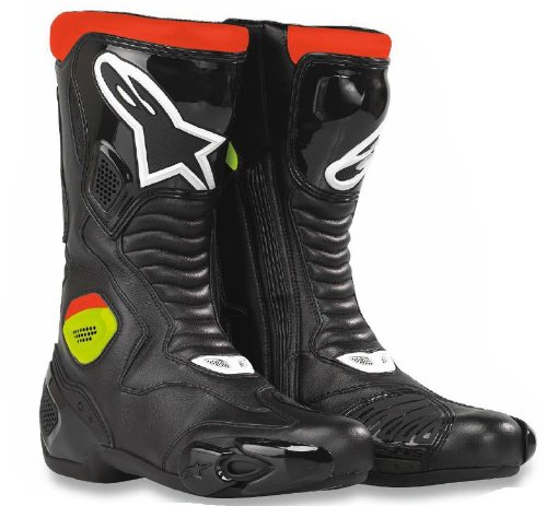 Alpinestars S-MX 5 Waterproof Boots , Primary Color: Red, Size: 13.5, Distinct Name: Black/Red/Flourescent Yellow, Gender: Mens/Unisex 224309-136-49