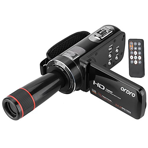 ORDRO-HDV-Z8-1080P-Full-HD-Digital-Video-Camera-Camcorder-16x--Zoom-Digitale-con-LCD-Touch-Screen-Rotation-Digital-Max-24-Megapixel-Face-Detection-Supporto