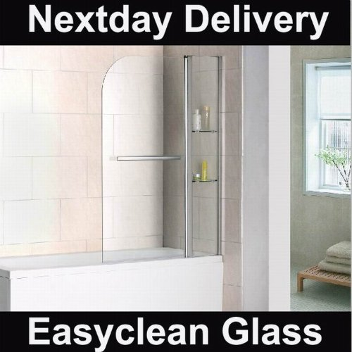 1000x1400 180° Pivot Bath Shower Screen with shelves & towel rail easyclean(B2S-HE)