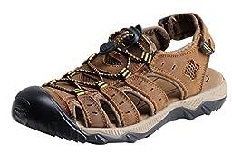 iLoveSIA Men\'s Leather Walking Sandals Brown US Size 8.5