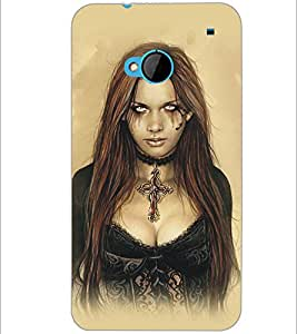 PrintDhaba Scary Girl D-5414 Back Case Cover for HTC ONE M7 (Multi-Coloured)