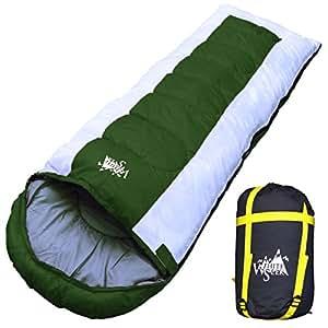 丸洗いOK White Seek 寝袋 シュラフ 封筒型 耐寒温度 -15℃ コンパクト収納 オールシーズン (グリーン)