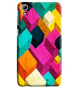 Blue Throat Cubical Abstract Printed Designer Back Cover/Case For HTC Desire 826