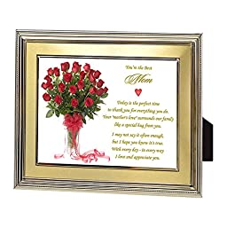 Birthday or Christmas Gift for Mom - Best Mom Ever Poem in Red Rose Bouquet Design - 5x7 Inch Gold Frame