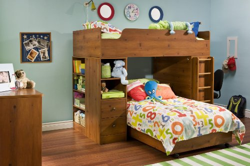 South Shore Logik Twin Over Twin L-Shaped Wood Loft Bunk Bed In Sunny Pine Finish front-859723