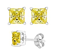 2.00 Carat Total Weight 925 Sterling Silver Earrings. 1.00 Carat Each Stone. Created CZ YELLOW STONE by U.S.A