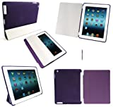 Emartbuy® New Ipad 3 & Apple Ipad 2 - Bundle Pack of Purple Dual Function Ball Pen Stylus + LCD Screen Protector + Bundle Pack of Compatible Purple Smart Cover & Purple Smart Gel Case (All versions Wi-Fi and Wi-Fi + 3G/4G - 16GB 32GB 64GB)